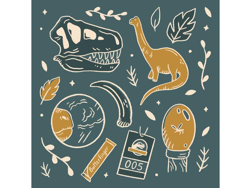 Jurassic Park doodles procreate art doodle design procreate dinosaur drawing illustration art