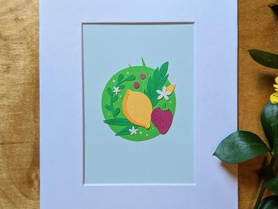 Lemon cut paper art paper cut paper collage illustration art