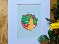 Pear cut paper food pear collage paper cut paper illustration nature art
