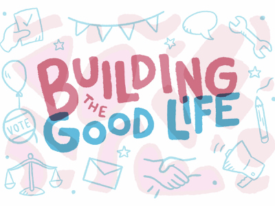Building the Good Life postcard design procreate art procreate graphic design design illustration art