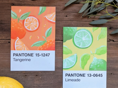 Pantone postcard paintings painting handmade nature illustration art