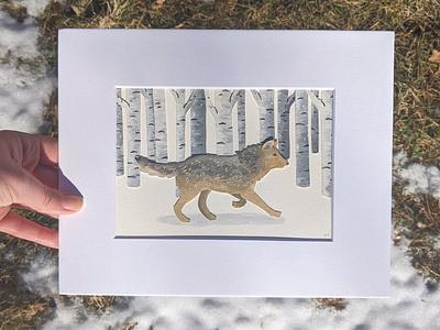 Cut paper wolf paper animals handmade nature illustration art