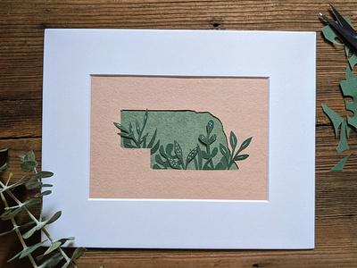 Nebraska greenery cutpaper paper handmade nature illustration art