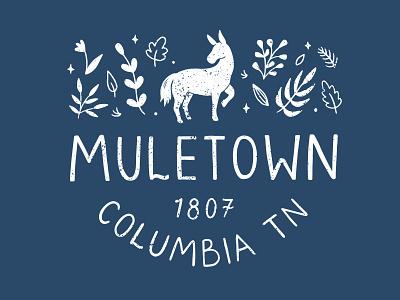 Muletown, Tennessee tourism sticker tshirtdesign branding concept procreate art branding graphic design design illustration art