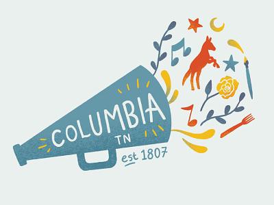 Columbia, Tennessee sticker branding tourism procreate graphic design design drawing illustration art
