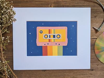 Cut paper cassette rainbow vintage paper design illustration art cassette