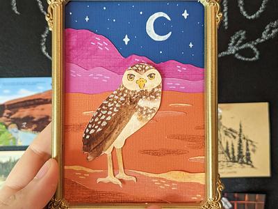 Burrowing owl cut paper owl birds artwork artist paper cut paper painting painted hand drawn nature illustration art