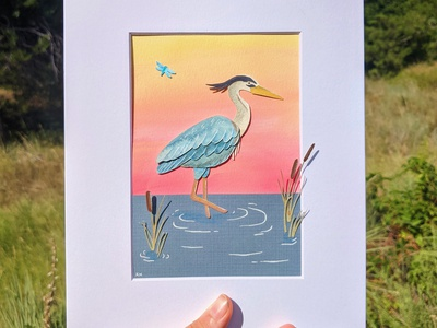 Cut paper great blue heron paper art craft paper nature illustration art
