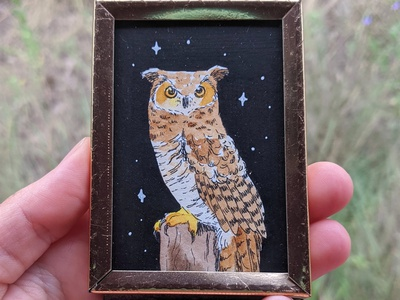 Tiny great horned owl painting hand drawn drawing nature illustration art