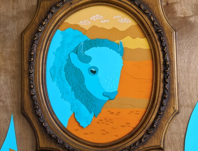 Teal cut paper bison