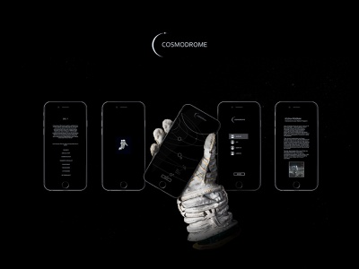 COSMODROME® | Black Mobile App white mobile screen shot iphone minimal user interface user experience clean astronaut minimalism dark app logo ux ui design black space vector