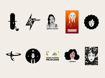 Character logo logotype graphic design symbol mark wave person modernist monochrome girl negative space logos modern woman man face logo design black illustration vector