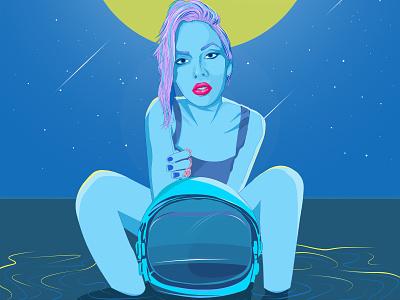Girl astronaut blue typography space retrowave synthwave girl astronaut helmet ocean sea night vector illustration