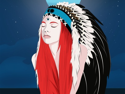 Indian girl meditation surrealism moon ocean typography illustration chakra ajna blue red bonnet war girl night space