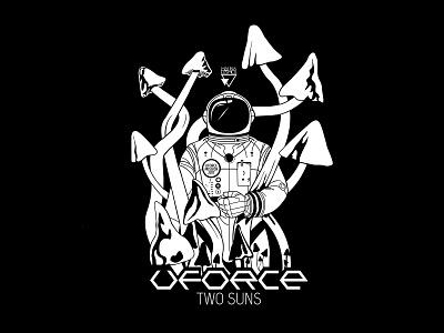 T-Shirt - UFORCE MISSION spaceman white black t-shirt fungi mushroom astronaut logo typography vector space illustration