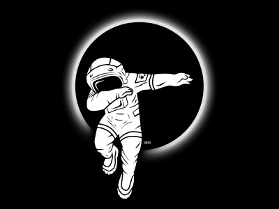 T-Shirt - ASTRONAUT DAB white black eclipse dab spaceman astronaut t-shirt typography vector space illustration