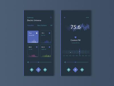 Radio App UI/UX mobile platform preview project product illustration vector branding icon black dark music listen gradient player song radio ui ux app