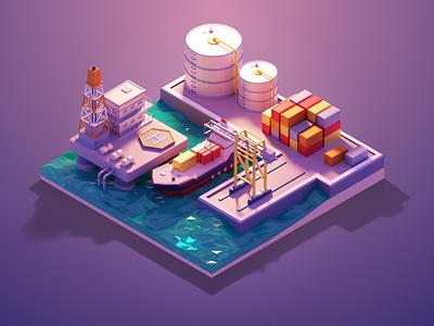 3D Model of the Port dribbble dribbbler dribbblepopular new york shipping company container sea oil boat ship harbor port vector branding illustration ui