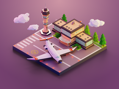3D Model of an Airport icons illustration design ux ui indiedev indie gamedev pixel pixelart 3danimation 3dart 3dmodel dribbblepopular model airport airplane blender