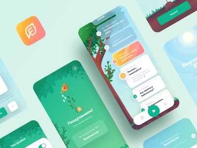 English Tree | Language Learning App Design ux ui tasks sketch school photoshop logo lessons education learning illustrator illustration ios icons english design green clean branding app
