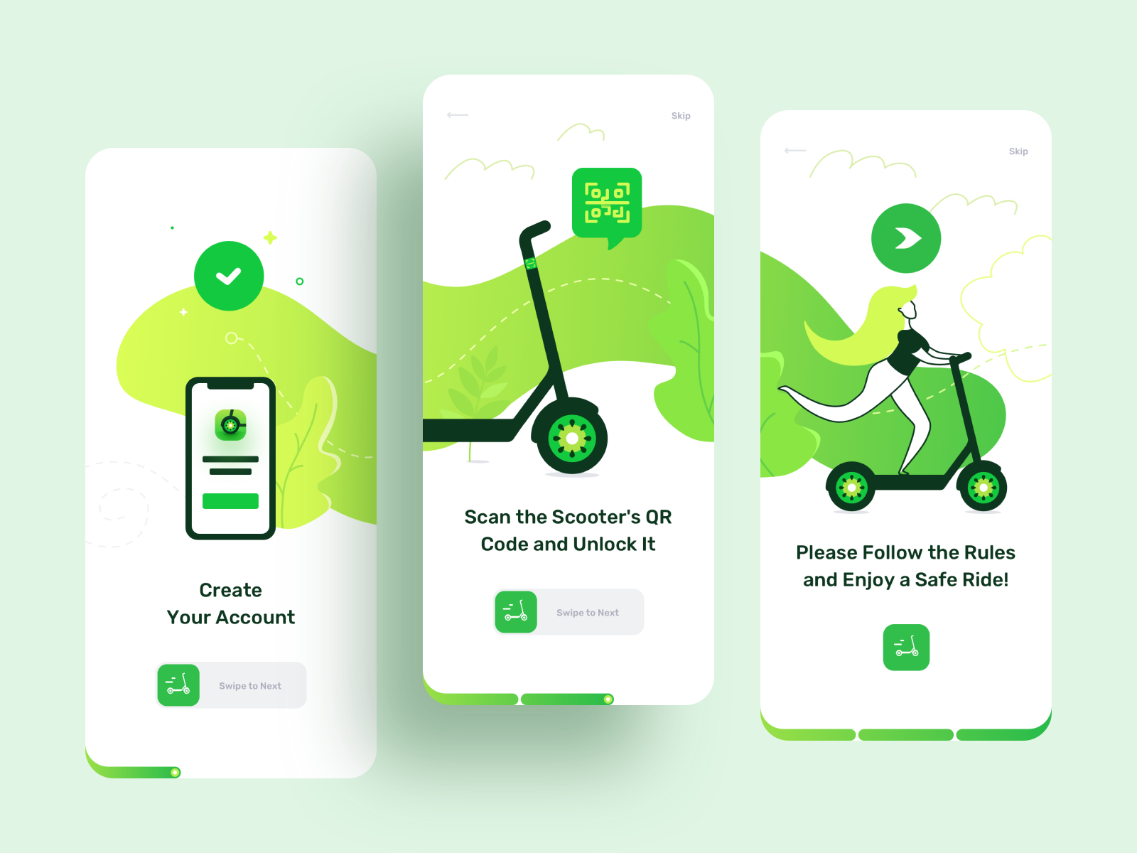 Kiwi | IOS App Design for Rent Scooters sketch scooter route rider ride rent navigation map journey explore distance ios illustrator illustrations icons design clean bike mobile app adobe photoshop
