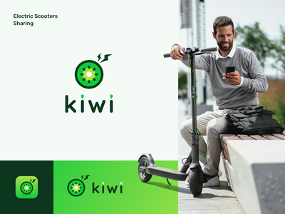 Kiwi Logo and Branding scooters sharing electric scooters logo design typography logotype graphic design visual identity branding logo