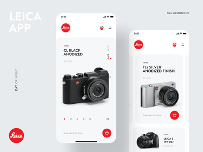 New Store for the Leica Application   Dark and White Themes concept black white marketplace black simple leica-cameras store app mobile leica ux ui design