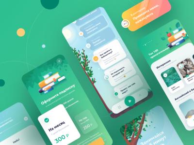 IOS App Design for learning english course art illustrator icons photoshop sketch illustraion language learning language school language lesson ios tasks learning green design app ux ui english