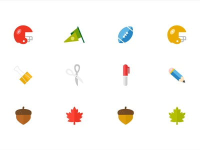 KIND Snacks Autumn Icons icon client healthy lifestyle kind snacks design nature school leaves autumn football illustration