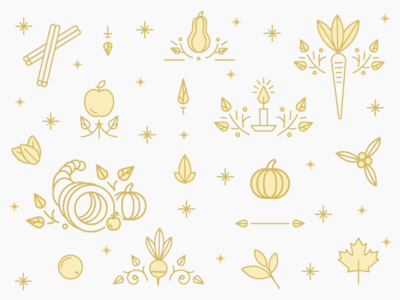 Fall for Juice Illustrations | Hurom Holiday Campaign design custom campaign line icons vegetables fruit juice thanksgiving illustration