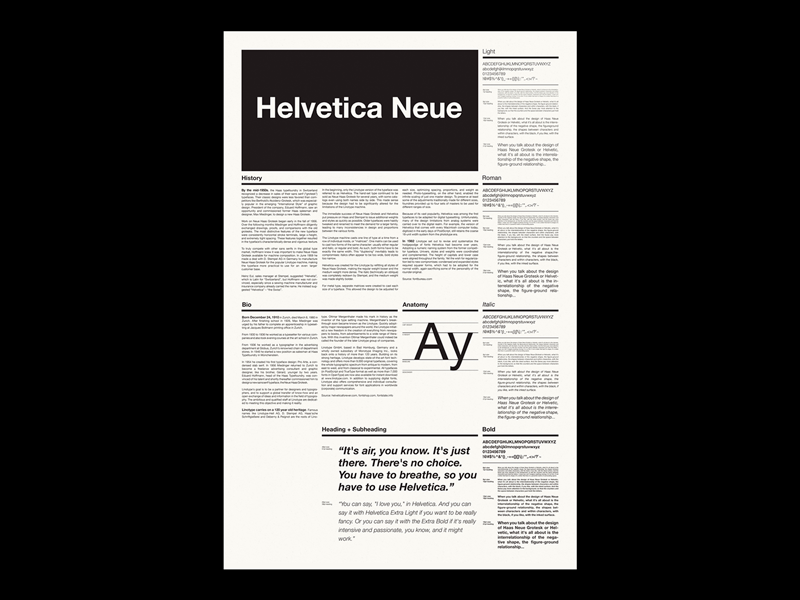 Helvetica Neue Type Specimen / Side B by Matt Benkert on Dribbble