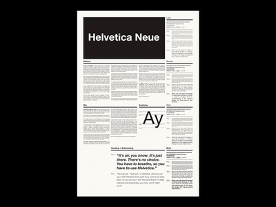 Helvetica Neue Type Specimen / Side B swiss poster graphic design print type design layout typography