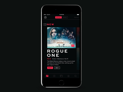 Redbox Rebrand Concept—Mobile App.02 streaming star wars film movies red ui redbox