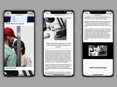 NormalObjects—Mobile.01 editorial mobile website ecommerce ux flat clean typography type minimal graphic design design web ui fashion helvetica layout shop blog iphone x