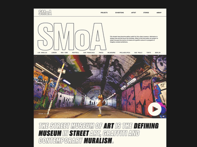 Street Museum of Art — About pg. web ui typography type minimal layout grid graphic design design clean museum rebrand street art