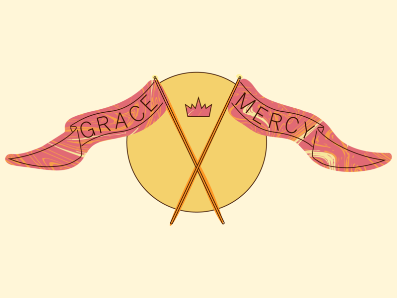 grace and mercy orange pink gold yellow design illustration marble crown flag christian mercy grace