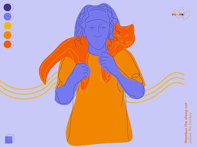 sheepcat blue orange line drawing shepherd sheep man cat simple fun illustrator illustration design colorful