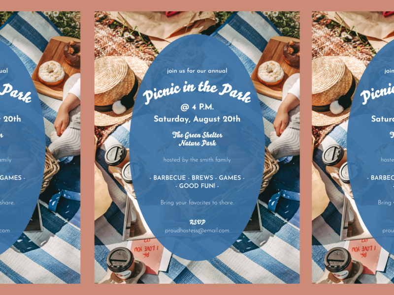 picnic mock invitation typography invitation invite picnic summer blue pink simple design