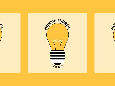Podcast Cover Art: Monica Andrew Podcast lightbulb cover art podcast cover art podcast flat design yellow colorful illustrator fun simple design