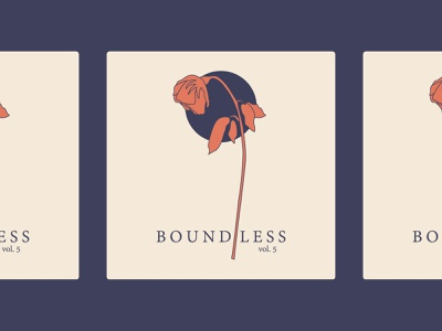Boundless: Book Cover line drawing poetry book navy terracotta wilted rose rose book cover illustration simple design