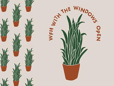 playlist cover art: illustrated houseplant plants house plant snake plant terra cotta hand drawn illustration illustrator fun simple design