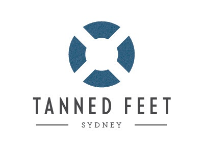 Tanned Feet Sydney Vertical logo branding identity beach sea circle australia