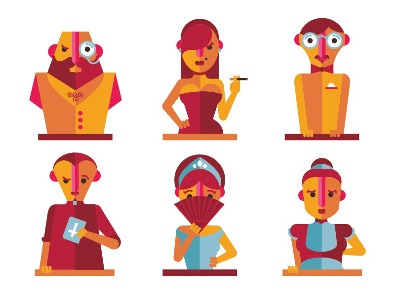 Clue Characters clue board games pica2014 characters illustration design vector