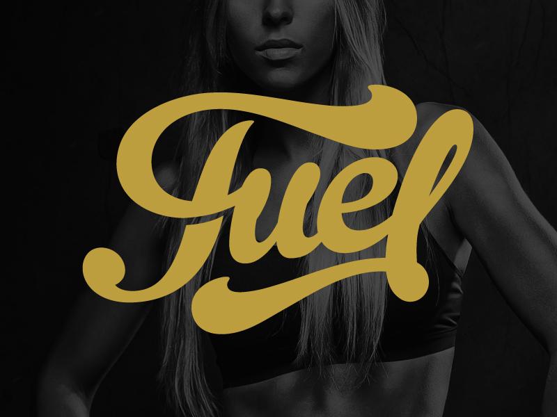 Fuel logo branding fuel fitness athlete type font typography swoosh flourish