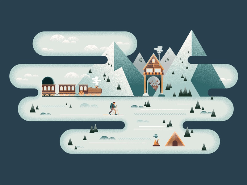 Winter is Coming winter mountains snow camping texture grain illustration vector illustrator