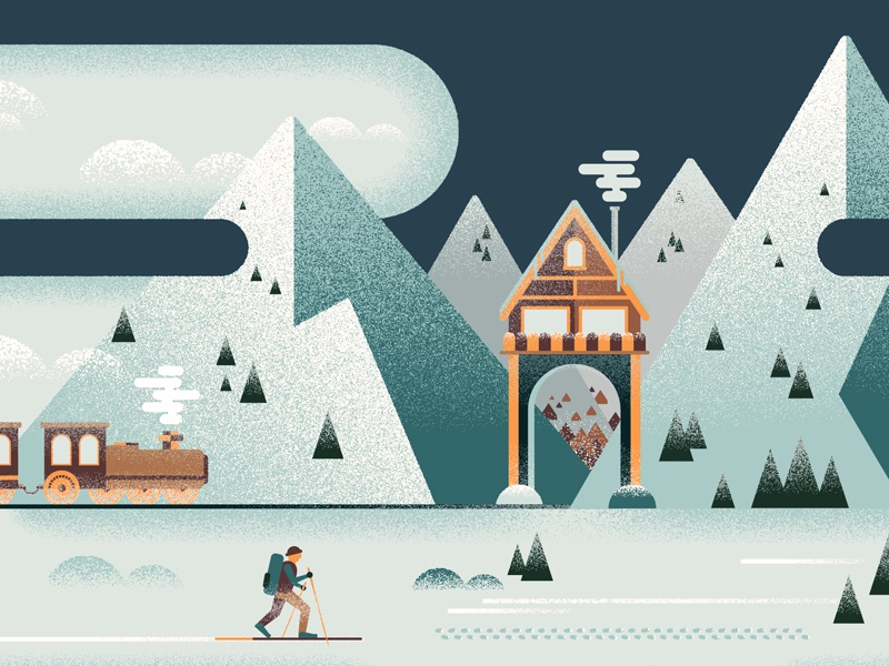 Winter is Coming (details) winter illustration vector grain texture camping snow seasons mountains geometric