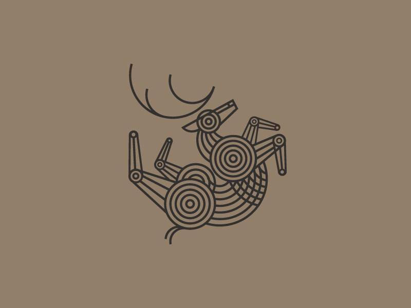 Twisted Deer Logo vector mark lines symbol monoline branding logo icon elk deer