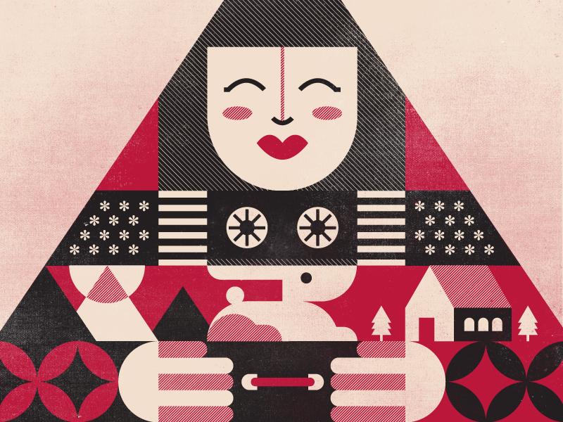 Kumiko the Treasure Hunter - Poster bunzo triangle texture pattern design geometric vector movie film poster
