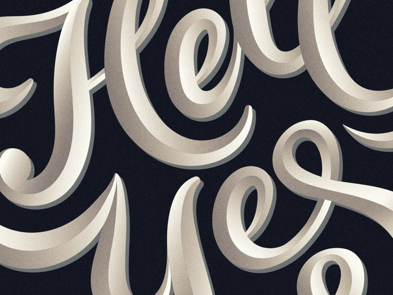 Hell Yes vector graphic design script calligraphy effect shadows flourish typography grain texture type