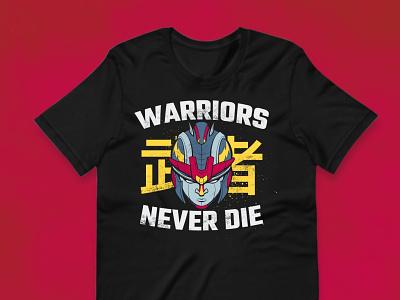Warriors Never Die T Shirt logo design apparel design graphic tee design cartoon style illustration branding illustration branding